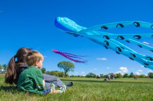2 children sitting in a field watching kites fly through the air