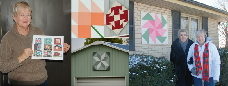 a collage of pictures 2 feature women posing with barn quilts and 2 others feature barn quilts themselves