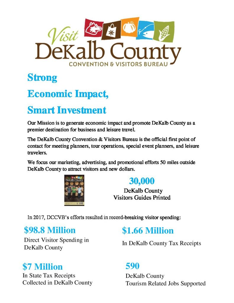 one pager of dekalb county CVB economic impact