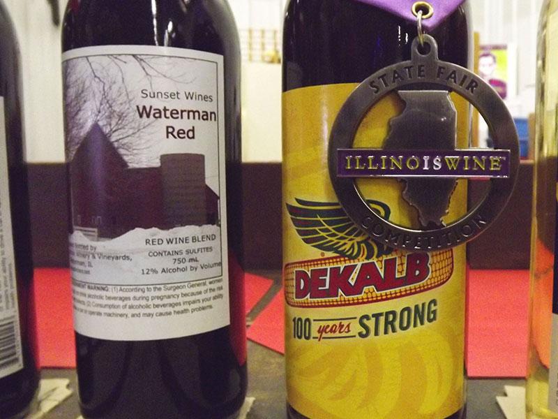 waterman winery wine bottles with illinois state fair logo