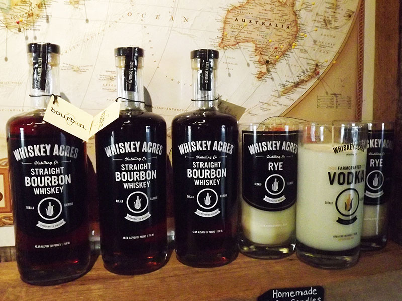 whiskey acres bourbon and candle products